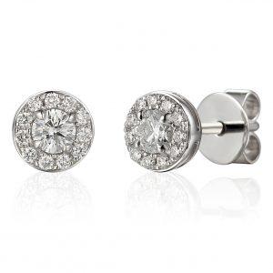Diamond stud cluster earrings white gold