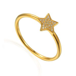 images of Diamond Cluster Star Gold Ring