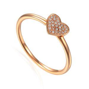 Rose Gold Diamond Heart Cluster Ring