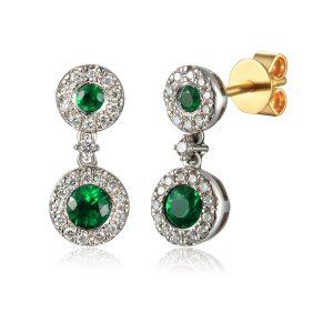 image of Diamond Drop Emerald Earring white gold