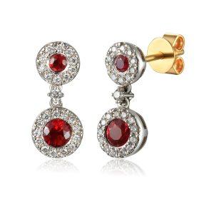 Image Diamond Drop Ruby Halo Earring white gold