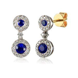 image of Diamond Drop Sapphire Halo Earring white gold