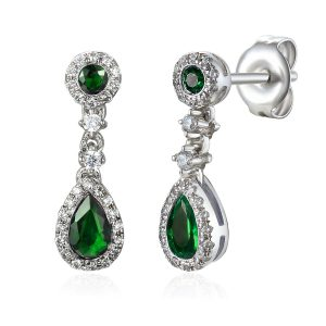 Image of Diamond Drop Emerald Pearshape Halo Earrings