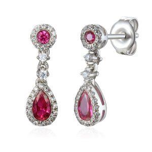 Image Diamond Drop Ruby Pear-shape Halo Earrings