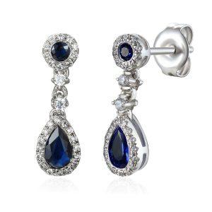 Diamond Drop Sapphire Pear Halo Earrings