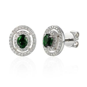 Picture of Diamond Halo Emerald Centre Earrings