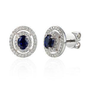 Images Diamond Halo Emerald Centre Earrings