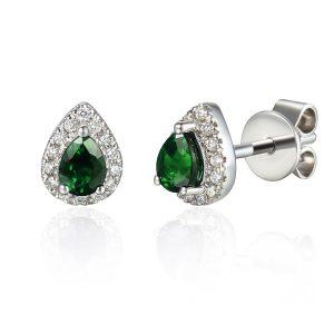 Images Diamond Emerald Halo Pear Earrings