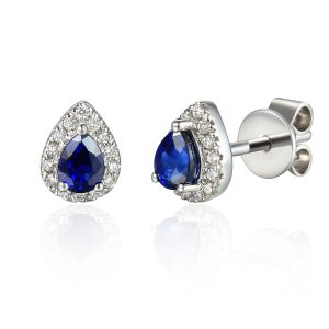 Image of Diamond Sapphire Halo Pear Earrings