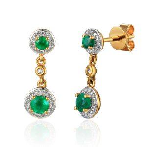 image of Drop Diamond Gold Emerald Earrings