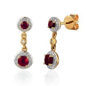 image of Drop Diamond Gold Ruby Earrings