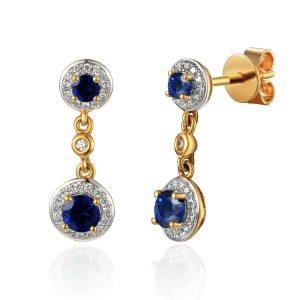 Image of Drop Diamond Gold Sapphire Earrings