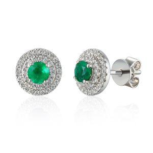 Image if Double Halo Emerald Diamond Stud