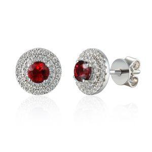 Image of Double Halo Emerald Diamond Stud Earrings