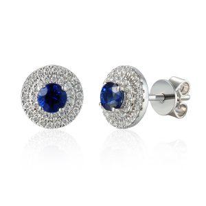 Image of Double Halo Sapphire Diamond Stud Earrings