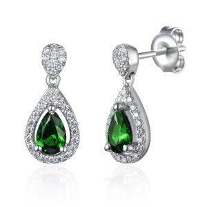 image of Drop Diamond Emerald Halo Pear Earrings