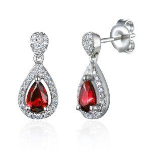 Image of Drop Diamond Ruby Halo Pear Earrings