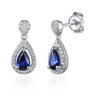 Image of Drop Diamond Sapphire Halo Pear Earrings