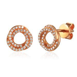 Image if Fancy Rose Gold Diamond Cluster Earrings