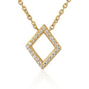 image of gold Drop Diamond Shape Pendant