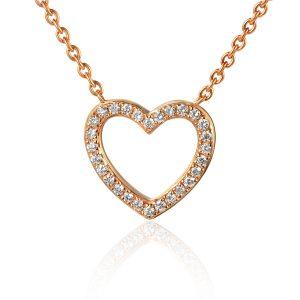 images of Rose Gold Drop Diamond Heart Shape Pendant