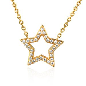 image of Gold Drop Diamond Star Shape Pendant