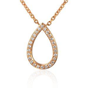 Image of Rose Gold Drop Diamond Tear Drop Shape Pendant