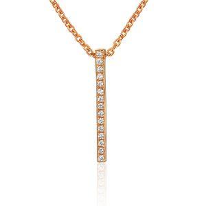 images Rose Gold Diamond Pave Strip Pendant