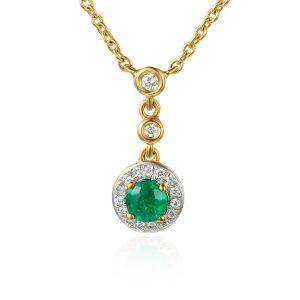 image of Drop Diamond Emerald Halo Pendant