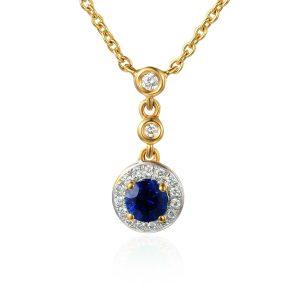 Image of Drop Diamond Blue Sapphire Halo Pendant