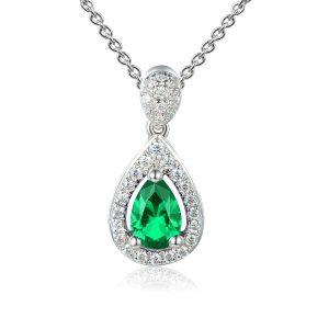 Image of Emerald Halo Pear Pendant