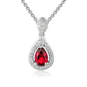 Image of Ruby Halo Pear Pendant