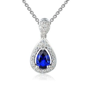 Image of Sapphire Halo Pear Pendant
