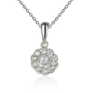 image of Grain set white gold Diamond pendant