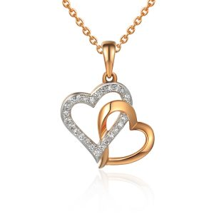 image of Rose Gold Fancy Double Heart Diamond Pendant