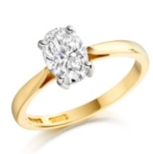 Lab Grown Oval diamond solitaire gold