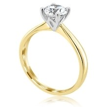 Lab grown round cut diamond 4 claw yello gold solitaire
