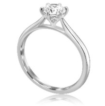 Lab grown round cut diamond 6 claw platinum solitaire