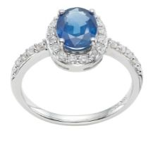 Diamond Sapphire Halo shoulder engagement ring small