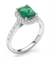 Emerald Gemstone Platinum Halo Engagement Ring