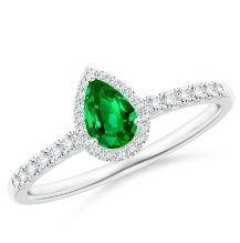 Emerald pearshape halo engagement ring