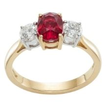 Gold Ruby Trilogy Diaond Engagement Ring