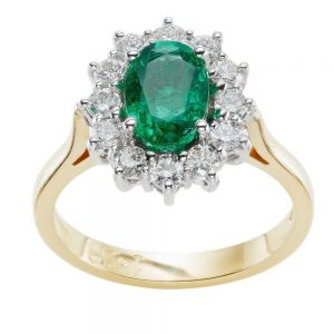 Oval Emerald 1.28ct engagement ring Diamond cluster 0.64ct