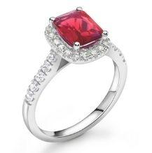 Ruby Gemstone Platinum Halo Engagement Ring