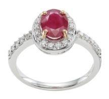 Ruby Halo Diamond Shoulder engagement Ring in hatton Garden