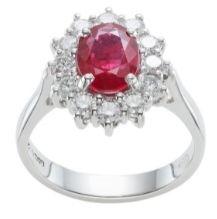 Ruby platinum halo diamond engagement ring