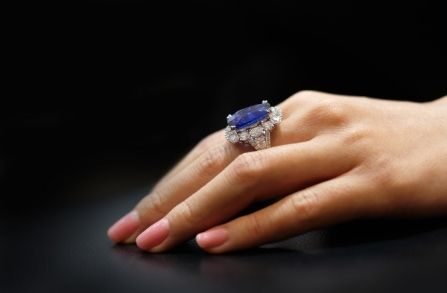 Sapphire Engagement Ring with Halo in Hatton Garden