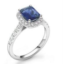 Sapphire Gemstone Platinum Halo Engagement Ring