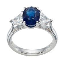 Sapphire Trilogy Engagement ring Hatton Garden