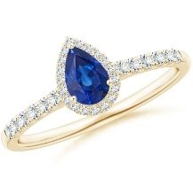 Spahhire pearshape Halo Engagement Ring